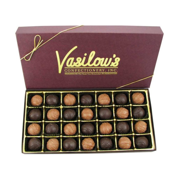 Vasilow's 18 piece box of homemade Chocolate Cherry Cordials
