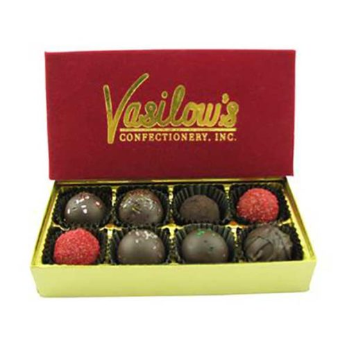 Vasilow's 8 piece chocolate homemade truffle sampler