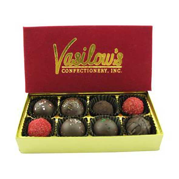 Vasilow's 8 piece chocolate homemade truffle sampler