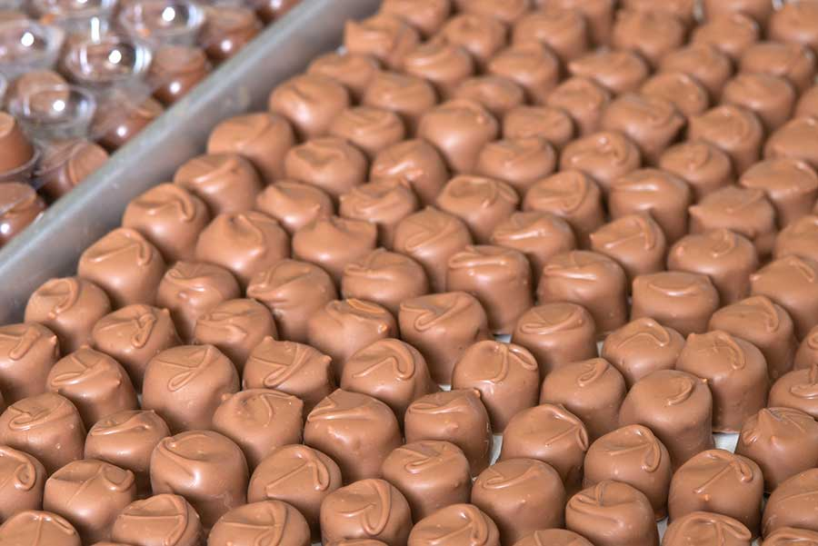 A tray of homemade chocolate covered candy at Vasilow's