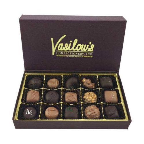 Vasilow's 15 piece Sampler Box of Homemade Chocolates
