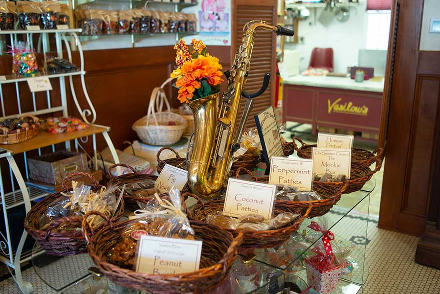 Closeup of table of homemade candies found at Vasilow's candy store in Hudson NY