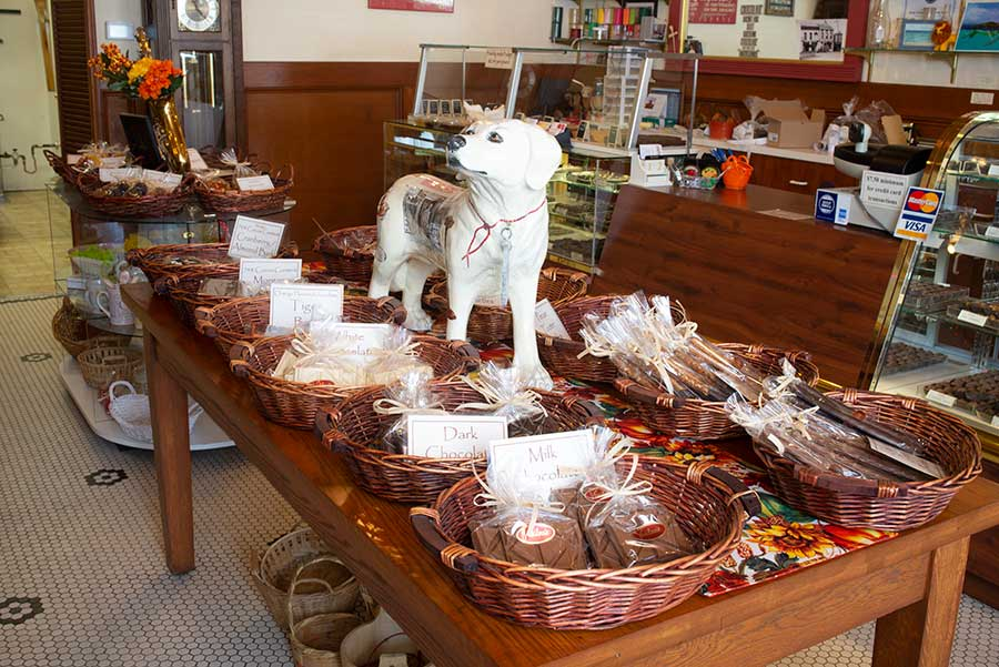 Interior of Vasilow's showing variety of homemade candy treats